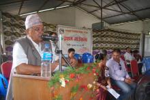 प्रथम गाउँ सभालाई सम्बोधन गर्नु हुँदै अध्यक्ष श्री ताराबहादुर काफ्ले ज्यू,